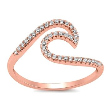 Sterling Silver Rose Gold Plated Ocean Wave Cubic Zirconia Ring