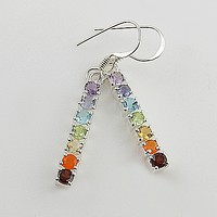 Multi Stone Chakra Line Sterling Silver Prong Set Earrings