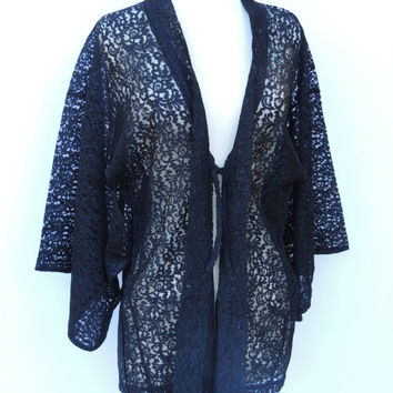 SALE TODAY ONLY Vintage Black Lace Kimono Sleeve Jacket / Robe / Blouse