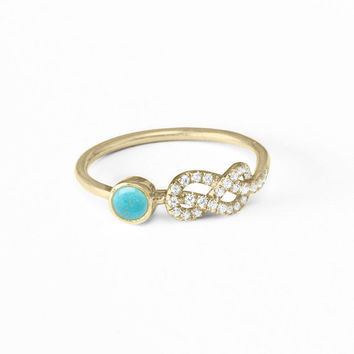 Turquoise Ring, Pave Diamond Ring, 14K/18K Gold Ring, Unique Engagement Ring, Infinity Knot Ring, Cluster Ring, Art Deco Ring