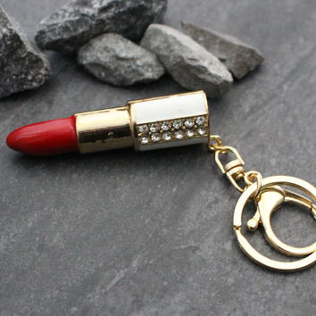 Lipstick Keyring, Crystal Keychain, Gold Keyfob, Lip Stick, Gifts for Her, Gift for Women, Christmas Gifts, Designer, Novelty, Rhinestone