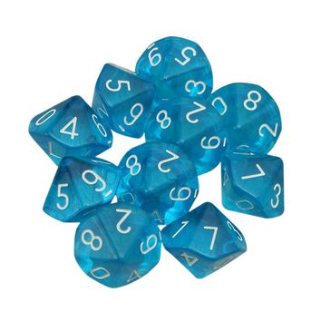 PROMOTION 10-Dices D10 Ten Sided Gem Dice Die for RPG Dungeons&Dragons Board Table Games Transparent Blue