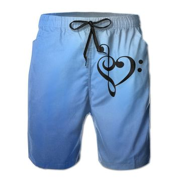 Bass And Treble Clef Heart Love Mens Fashion Casual Beach Shorts