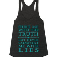 Hurt Me With The Truth Mint-Female Athletic Tri Black Tank