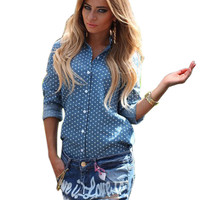 2016 Autumn Polka Dot Print Sexy Open Back Split Buttons Blouse Shirts Women Long Sleeve Lapel Collar Top Blusas femininas GV133