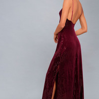 Studio Lounge Burgundy Velvet Sequin Maxi Dress