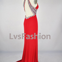 Halter Deep v neck with Beading Red Evening Dresses, Prom Dresses, Evening Gown, Prom Gown. Wedding Party Dresses