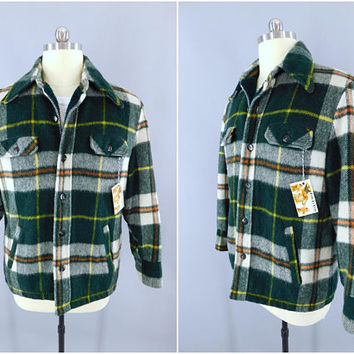 Vintage 1980s Flannel Coat / 80s Men's Plaid Jacket / Sears Vintage Menswear / Green Plaid Sherpa Lining / Lumberjack Style