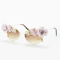 Tnemnroda Loves Floral Sunglasses in Gold - Urban Outfitters