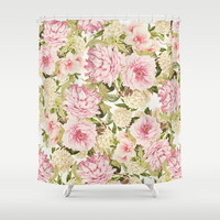 vintage peonies and hydrangeas Shower Curtain by sylviacookphotography