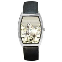 White Ice Unicorn Fantasy Black Leather Barrel Watch
