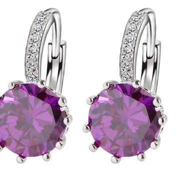 Simple Jewelry Design Round Zirconia Earrings