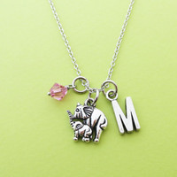 Personalized, Birthstone, Letter, Initial, Elephant, Mother, Baby, Daughter, Silver, Animal, Necklace, Gift, Jewelry