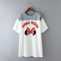 Block Minnie Mouse Print T-Shirt