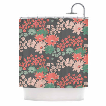 "Zara Martina Mansen ""Natures Bouquet"" Coral Green Shower Curtain"