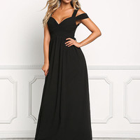 Black Pleated Draped Maxi Dress
