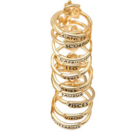 Gold Plated Zodiac Sign with Engraved Letter Back Ring