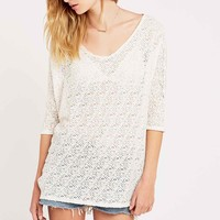 Staring at Stars Aztec Lace Cocoon Tunic in Ivory - Urban Outfitters