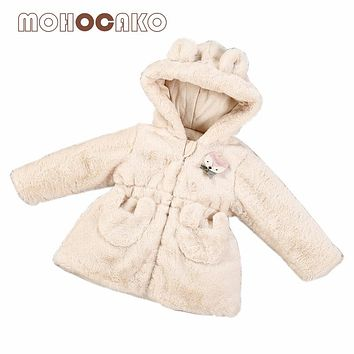MOHOCAKO Naturally Colored Cotton Winter Hooded Baby Girl Jacket Fashion Plush Long Sleeve Warm Girl Outerwear Coat Baby Clothes