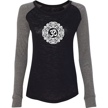 Yoga Clothing For You White Ornate OM Preppy Patch Elbow Yoga Tee Shirt