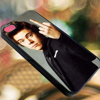 Harry Style flip finger one direction - iPhone 4/4s/5/5s/5c Case - Samsung Galaxy S3/S4 - Blackberry z10 - iPod 4/5 Black or White