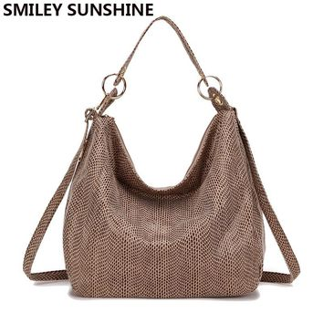 SMILEY SUNSHINE women handbag tote bags female classic serpentine leather shoulder bags ladies large hobo hand messenge bags big