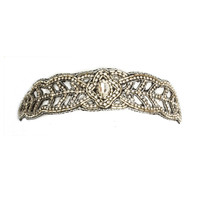 Desdemona Headband, Silver & Crystal Rhinstone Beaded headband, Boho Headpiece, Wedding
