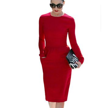 New Style Women O-Neck Pinup Business Pocket Dresses Bodycon Stretch Sheath Formal Long Sleeve Pencil Dress EG456