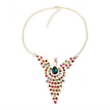 Fine Jewelry Super Dazzling Gold plated Rhinestone Colorful Peacock Long Necklace   Pendants For Women SM6