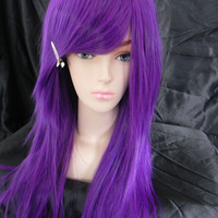 SALE // Purple / Long Straight Layered Wig