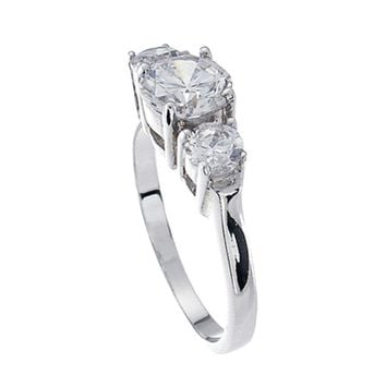 Plutus Brands 925 Sterling Silver Platinum Finish Brilliant Three Stone Engagement Ring 1.5 Carat Weight- Size 7