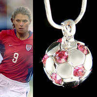 Swarovski Crystal 3D Pink Football Soccer Ball Pendant by Kashuen