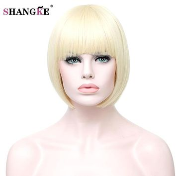 SHANGKE Short Blonde Bob Wig Women Natural Synthetic Wigs For Black White Women Heat Resistant Fake Hair Pieces Women Hairstyles