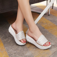 Women Slides Sandals Platform Wedge Crystal Shoes 1434