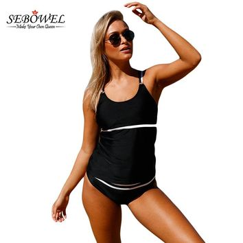 SEBOWEL New Sexy Women Tankini Swimsuit Black White Straps 2 Pieces Swimwear Beachwear Bikini Bathing Suits Female Tankinis set