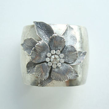 Fab Wide Cuff Bracelet Flower Rhinestones Silverplated Vintage Floral Jewelry
