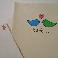 Choose Your Colors - Love Bird - Love Card - 5x7 Canvas Cards - Hand Painted - Matte Gloss Finish