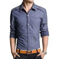 jeansian Men's Casual Slim Long Sleeves Dress Shirts Tops MCF027