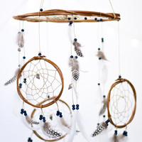 Dream Catcher Mobile Navy - Dreamcatcher Mobile Boho Bohemian Baby Mobile Tribal Crib Nursery Baby Girl Baby boy