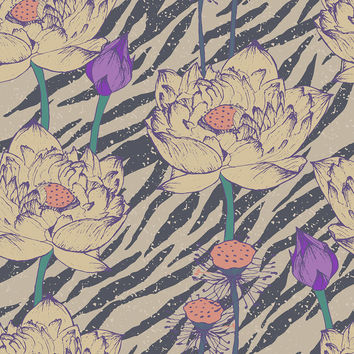 Vintage Hipster Floral Pattern Removable Wallpaper