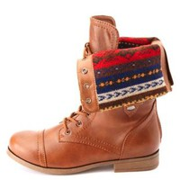 Fair Isle-Lined Fold-Over Combat Boots by Charlotte Russe - Cognac