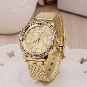 Stylish Gold Bracelet Watch Ladies Alloy Diamonds Bracelet Watch [4918307972]