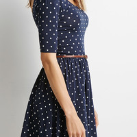 Navy Polka Dot Print Backless Belt Waist Skater Dress - Choies.com