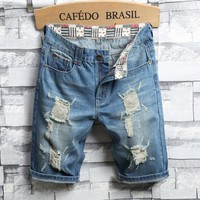 Denim Shorts Men Baggy Jeans Stretch Slim Pants Jeans [3444984676445]