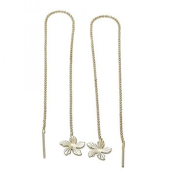 Gold Layered 02.63.0631 Long Earring, Flower Design, Diamond Cutting Finish, Gold Tone