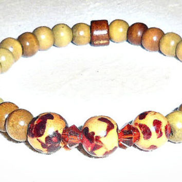 "Tribal Unisex Bracelet: Genuine Wood And Swarovski Crystal (Three Different Hues) ""I Am Strong """