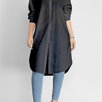 Elegant Casual Shirt Dress  Straight Long Sleeve Dresses