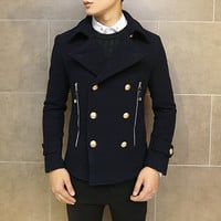 Double Breasted Wool Pea Coat with Gold Buttons