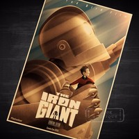 Sci-fi Iron Robot Giant Classic Vintage Retro Kraft Poster Decorative DIY Wall Sticker Home Bar Art Poster Decoration Kids Gift free shipping worldwide
