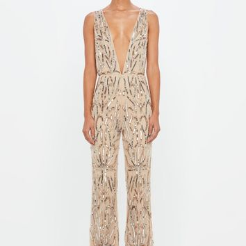 Missguided - Peace + Love Nude Embellished Plunge Jumpsuit